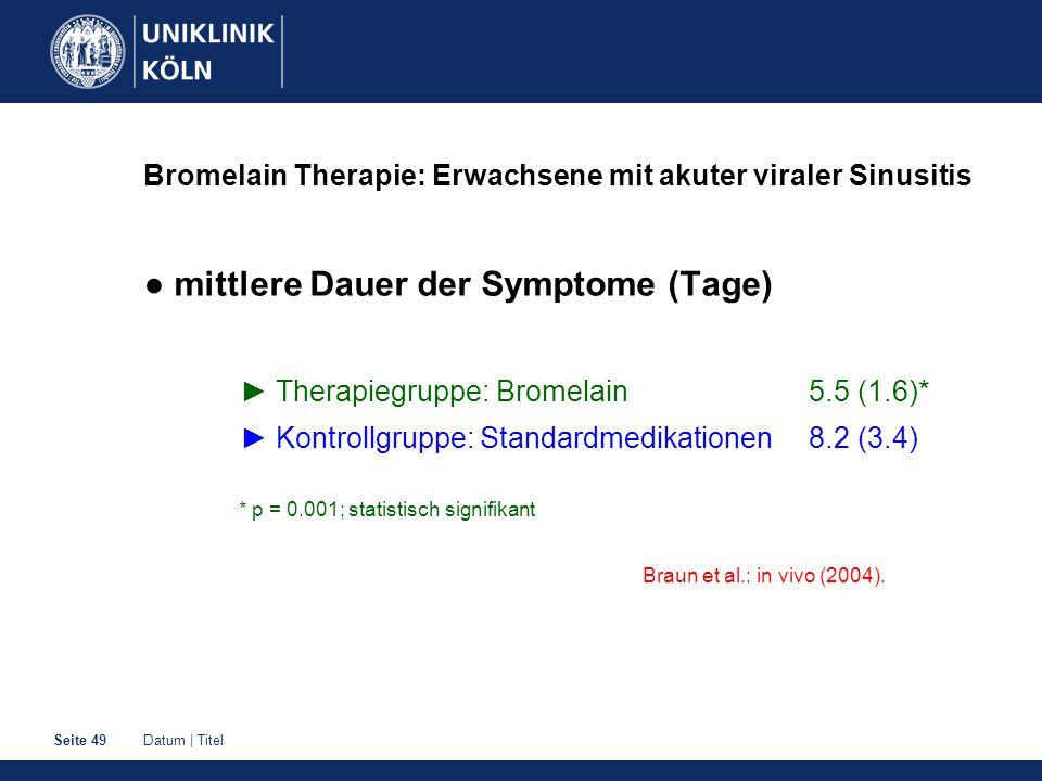 Datum | TitelSeite 49 Bromelain Therapie: Erwachsene mit akuter viraler Sinusitis ● mittlere Dauer der Symptome (Tage) ► Therapiegruppe: Bromelain 5.5