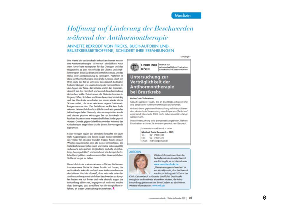 Datum | TitelSeite 7 Einfluss des Selen-Enzym-Linsenextraktgemisches* bei Brustkrebspatientinnen unter Antihormontherapie.