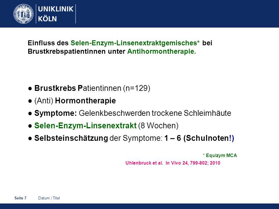 Datum | TitelSeite 7 Einfluss des Selen-Enzym-Linsenextraktgemisches* bei Brustkrebspatientinnen unter Antihormontherapie. ● Brustkrebs Patientinnen (