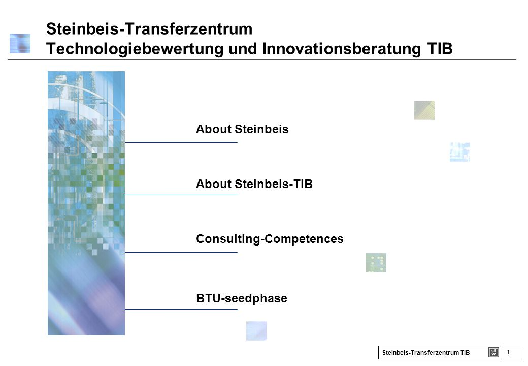1 Steinbeis-Transferzentrum TIB About Steinbeis About Steinbeis-TIB Consulting-Competences BTU-seedphase Steinbeis-Transferzentrum Technologiebewertun