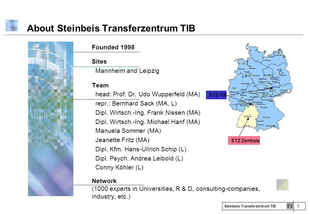3 Steinbeis-Transferzentrum TIB About Steinbeis Transferzentrum TIB Founded 1998 Sites Mannheim and Leipzig Team head: Prof. Dr. Udo Wupperfeld (MA) r