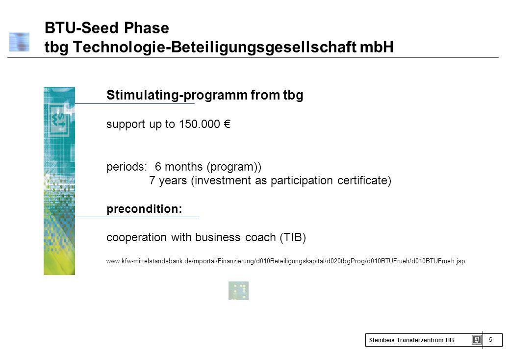 5 Steinbeis-Transferzentrum TIB BTU-Seed Phase tbg Technologie-Beteiligungsgesellschaft mbH Stimulating-programm from tbg support up to 150.000 € peri