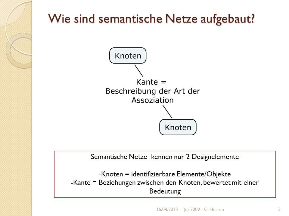 Wie sind semantische Netze aufgebaut? 16.04.20153(c) 2009 - C. Herren Semantische Netze kennen nur 2 Designelemente -Knoten = identifizierbare Element
