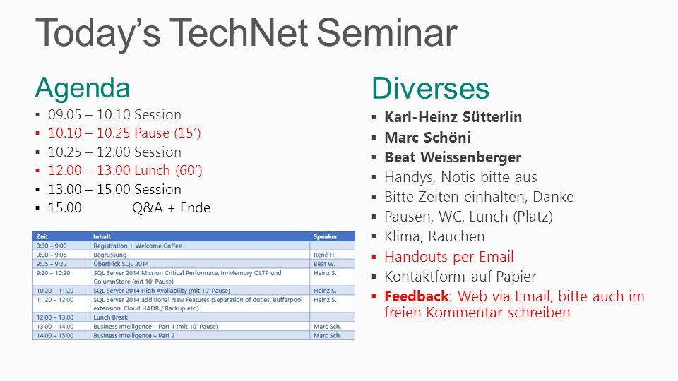 Today's TechNet Seminar Diverses  Karl-Heinz Sütterlin  Marc Schöni  Beat Weissenberger  Handys, Notis bitte aus  Bitte Zeiten einhalten, Danke  Pausen, WC, Lunch (Platz)  Klima, Rauchen  Handouts per Email  Kontaktform auf Papier  Feedback: Web via Email, bitte auch im freien Kommentar schreiben Agenda  09.05 – 10.10 Session  10.10 – 10.25 Pause (15')  10.25 – 12.00 Session  12.00 – 13.00 Lunch (60')  13.00 – 15.00 Session  15.00 Q&A + Ende