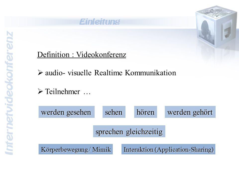 Internetvideokonferenz Einleitung  audio- visuelle Realtime Kommunikation  Teilnehmer … hörensehen werden gesehen werden gehört sprechen gleichzeiti