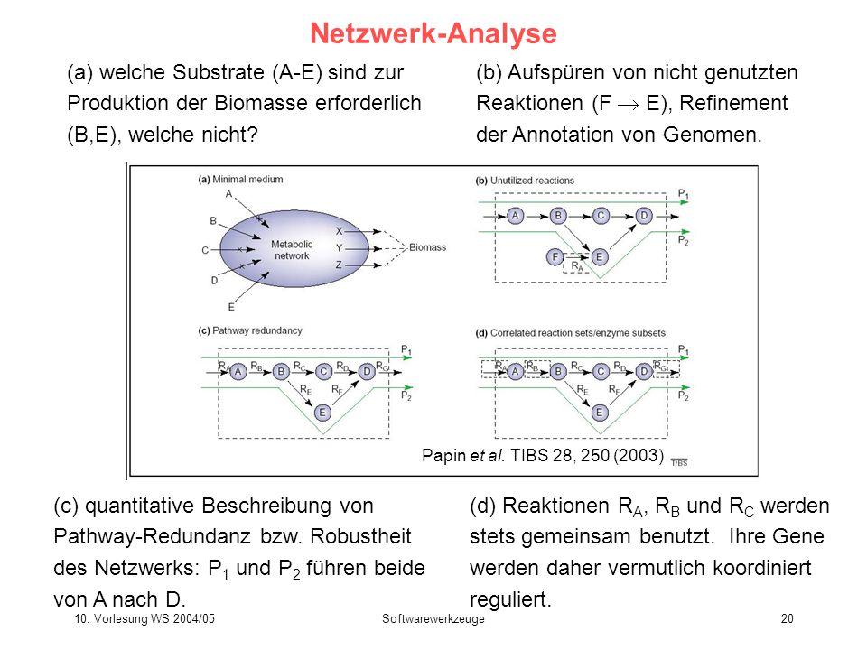 10. Vorlesung WS 2004/05Softwarewerkzeuge20 Netzwerk-Analyse (a) welche Substrate (A-E) sind zur Produktion der Biomasse erforderlich (B,E), welche ni