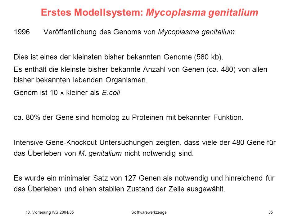 10. Vorlesung WS 2004/05Softwarewerkzeuge35 Erstes Modellsystem: Mycoplasma genitalium 1996 Veröffentlichung des Genoms von Mycoplasma genitalium Dies