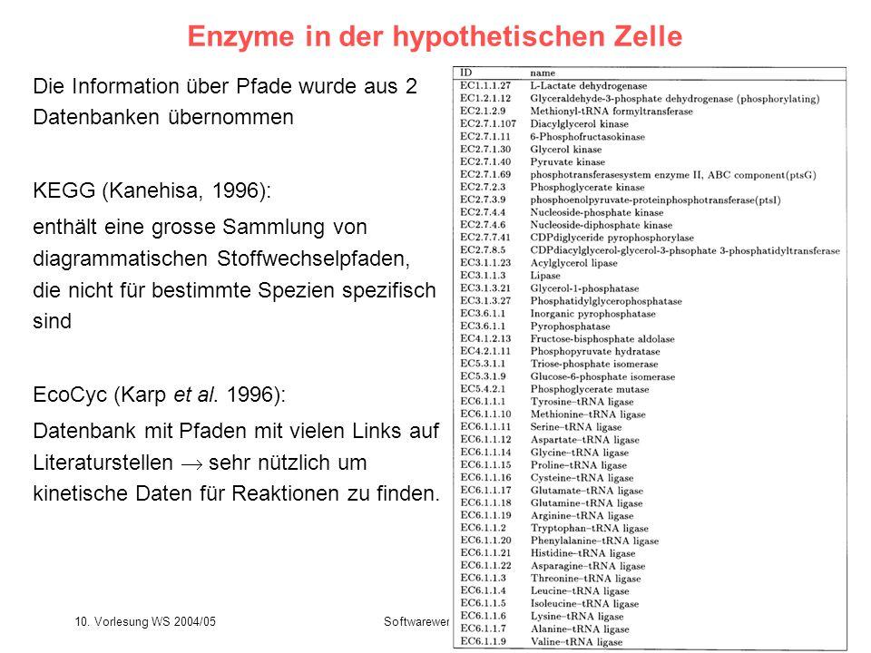 10. Vorlesung WS 2004/05Softwarewerkzeuge39 Enzyme in der hypothetischen Zelle Die Information über Pfade wurde aus 2 Datenbanken übernommen KEGG (Kan
