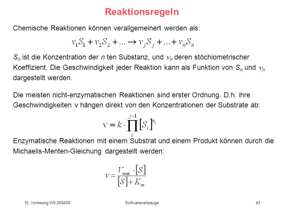 10. Vorlesung WS 2004/05Softwarewerkzeuge43 Reaktionsregeln Chemische Reaktionen können verallgemeinert werden als: S n ist die Konzentration der n te