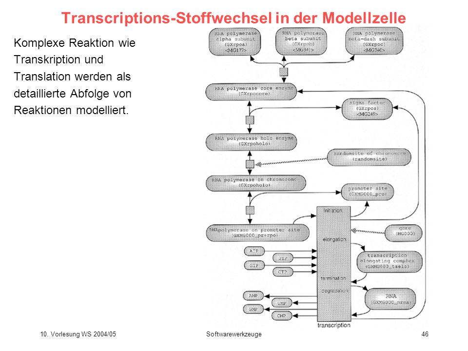 10. Vorlesung WS 2004/05Softwarewerkzeuge46 Transcriptions-Stoffwechsel in der Modellzelle Komplexe Reaktion wie Transkription und Translation werden