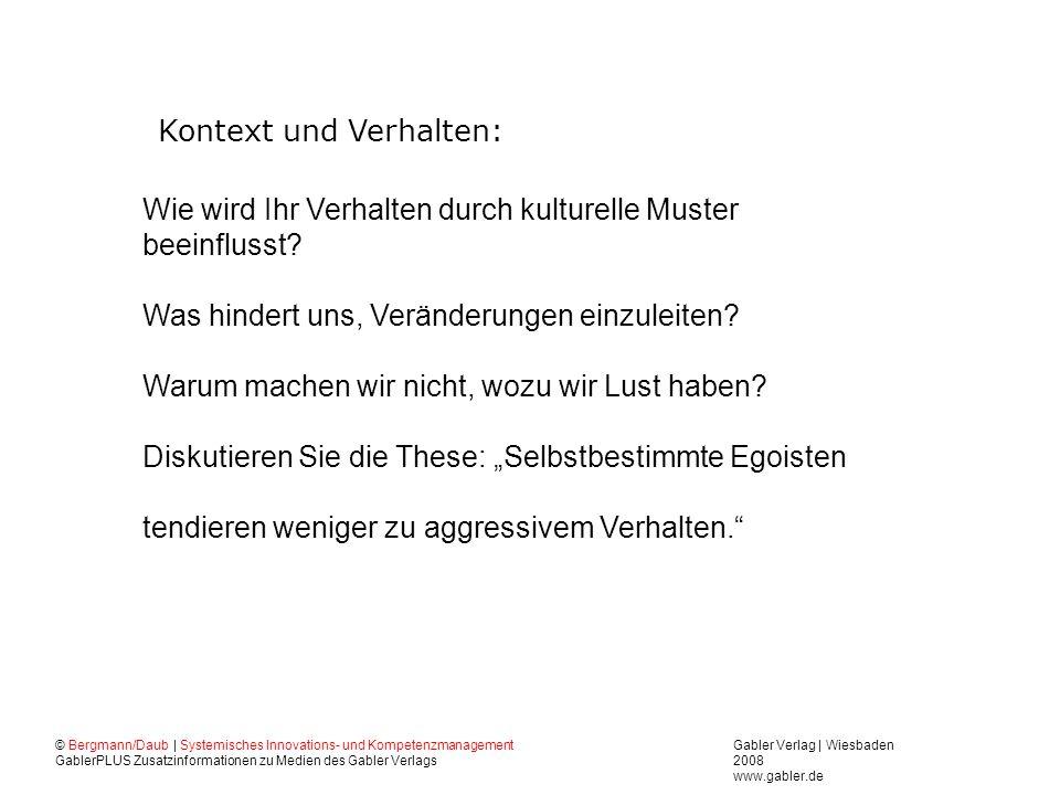Gabler Verlag | Wiesbaden 2008 www.gabler.de © Bergmann/Daub | Systemisches Innovations- und Kompetenzmanagement GablerPLUS Zusatzinformationen zu Medien des Gabler Verlags Wie wird Ihr Verhalten durch kulturelle Muster beeinflusst.