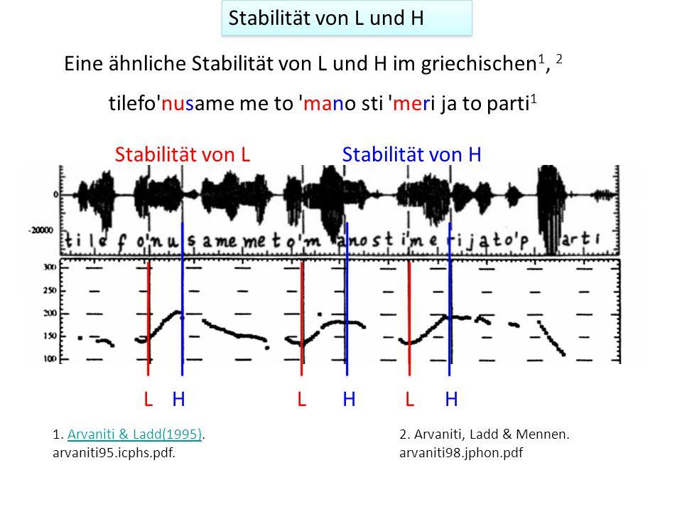 In Kontexten ohne tonale Abstoßung und ohne folgende Wortgrenzen wird auch H laut einiger Studien stabil mit dem Konsonant nach der primär betonten Si