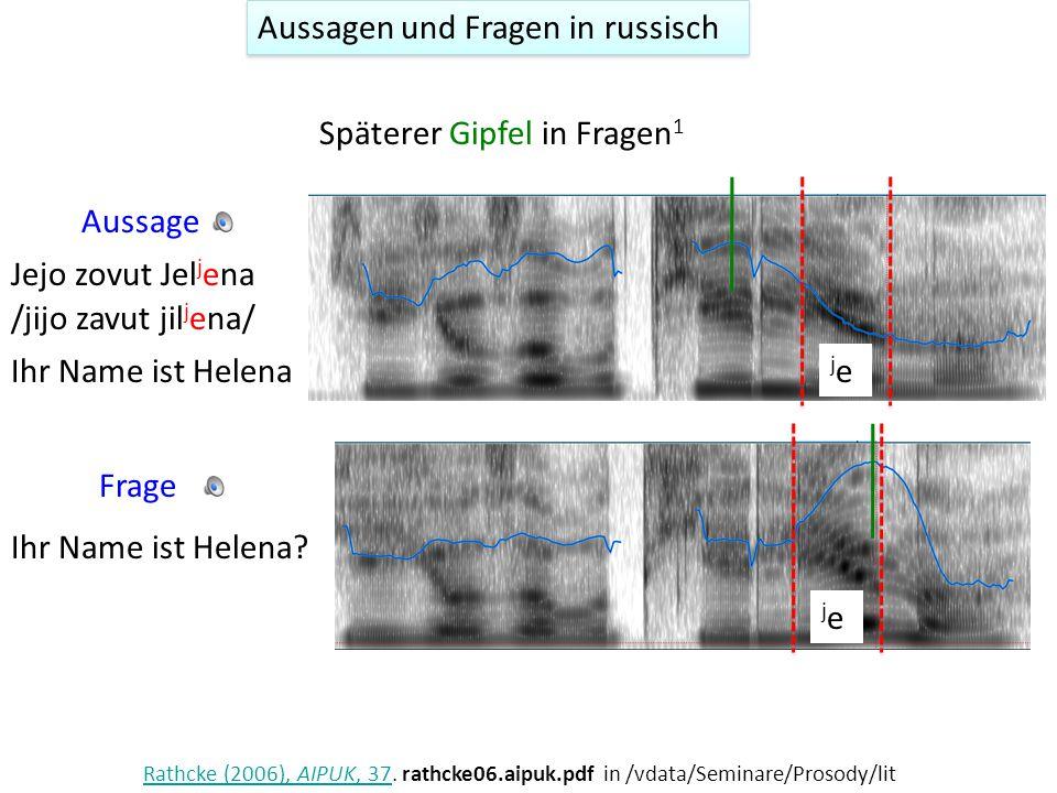 Aussagen und Fragen in süditalienischen Varietäten AussageFrage D Imperio, M.