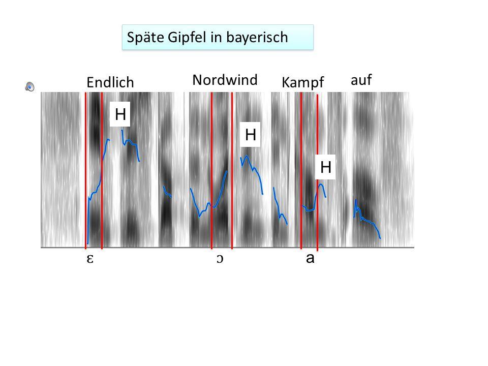 Die Synchronisierung vom Tal (L) und Gipfel (H) können dialekt- und sprachbedingt sein 1. Spätere Gipfel in S. vs. N Deutsch 1 Synchronisierunterschie