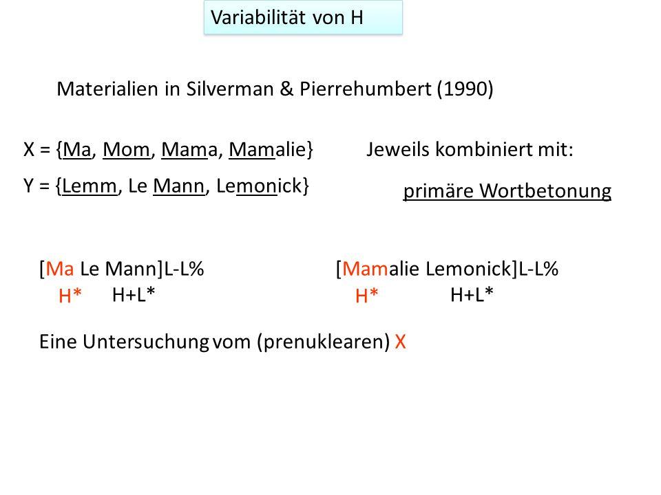 Variabilität von H Silverman & Pierrehumbert (1990) untersuchten drei mögliche Ursachen für die phrasenfinale Linksverlagerung 1 Tonale Abstoßung No he wrote to NANA Moore LaneL-L% H* unmittelbar vor L-L% in NAN.