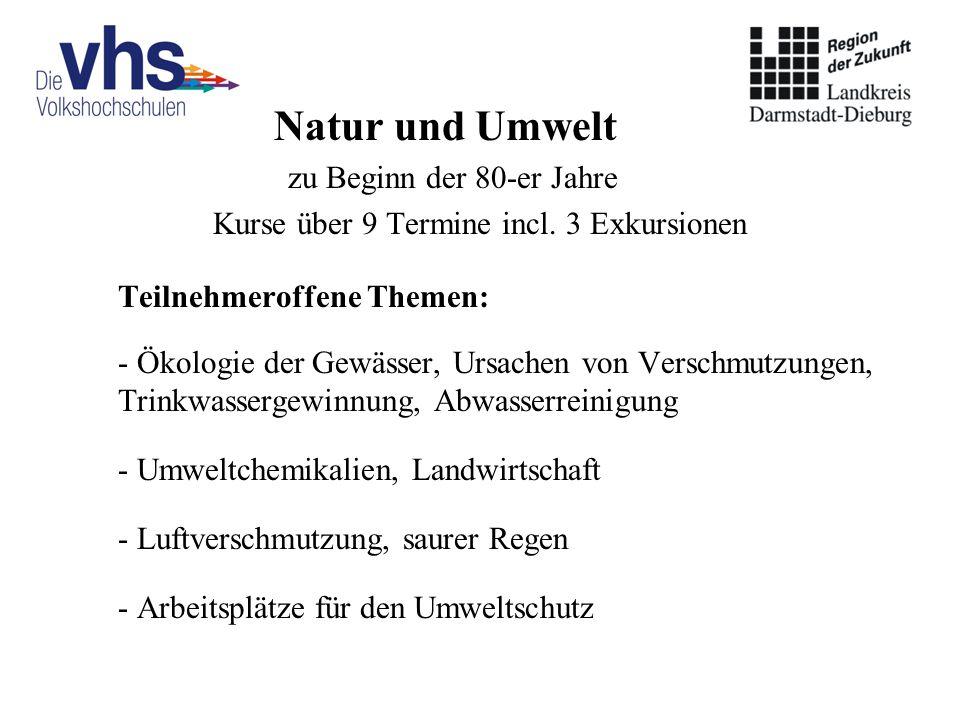 Natur und Umwelt zu Beginn der 80-er Jahre Kurse über 9 Termine incl. 3 Exkursionen Teilnehmeroffene Themen: - Ökologie der Gewässer, Ursachen von Ver