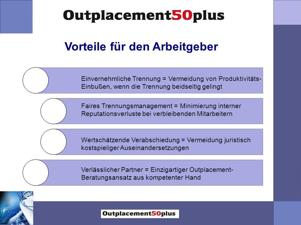 Vorteile für den Arbeitgeber Faires Trennungsmanagement = Minimierung interner Reputationsverluste bei verbleibenden Mitarbeitern Wertschätzende Verab