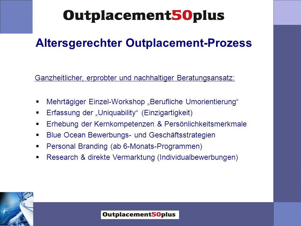 """Altersgerechter Outplacement-Prozess  Mehrtägiger Einzel-Workshop """"Berufliche Umorientierung""""  Erfassung der """"Uniquability"""" (Einzigartigkeit)  Erhe"""