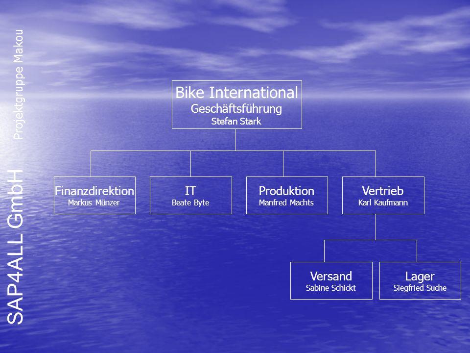 SAP4ALL GmbH Projektgruppe Makou Bike International Geschäftsführung Stefan Stark Vertrieb Karl Kaufmann Finanzdirektion Markus Münzer IT Beate Byte P