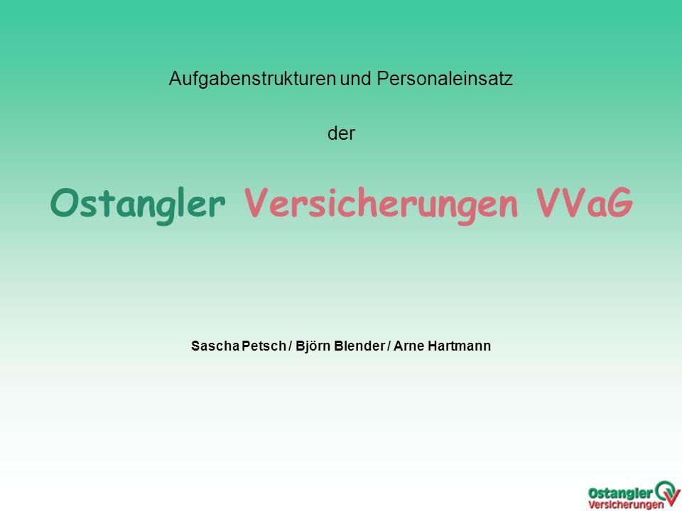 Aufgabenstrukturen und Personaleinsatz der Ostangler Versicherungen VVaG Sascha Petsch / Björn Blender / Arne Hartmann