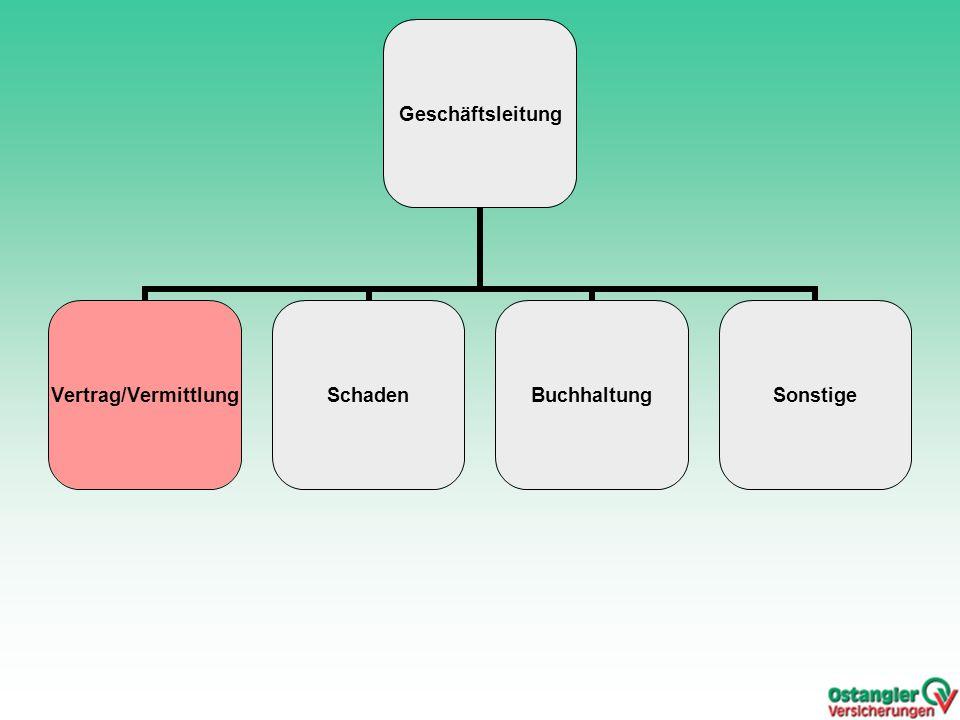 Geschäftsleitung Vertrag/VermittlungSchadenBuchhaltungSonstige