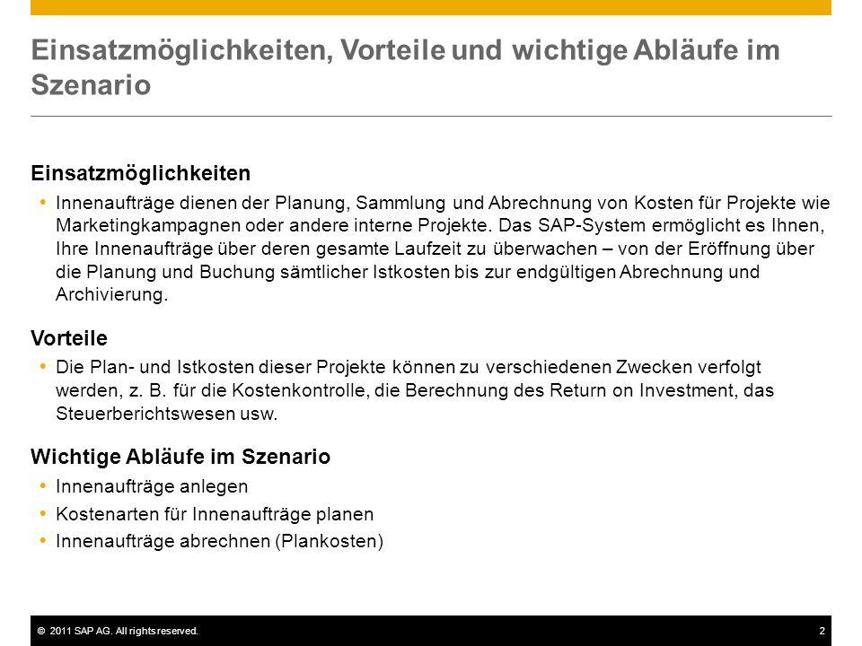 ©2011 SAP AG. All rights reserved.2 Einsatzmöglichkeiten, Vorteile und wichtige Abläufe im Szenario Einsatzmöglichkeiten  Innenaufträge dienen der Pl