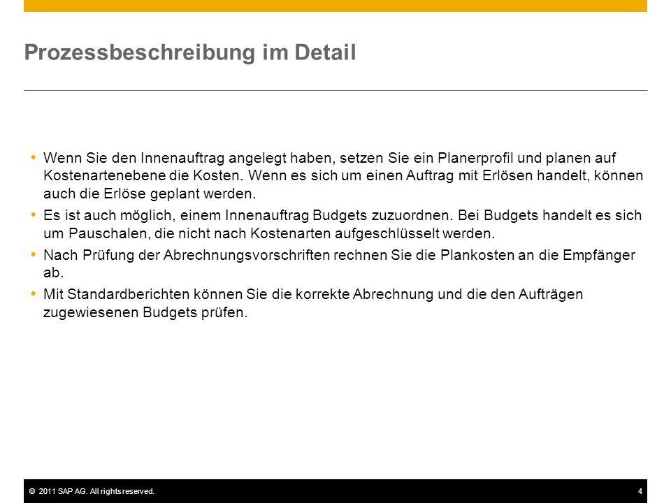 ©2011 SAP AG. All rights reserved.4 Prozessbeschreibung im Detail  Wenn Sie den Innenauftrag angelegt haben, setzen Sie ein Planerprofil und planen a