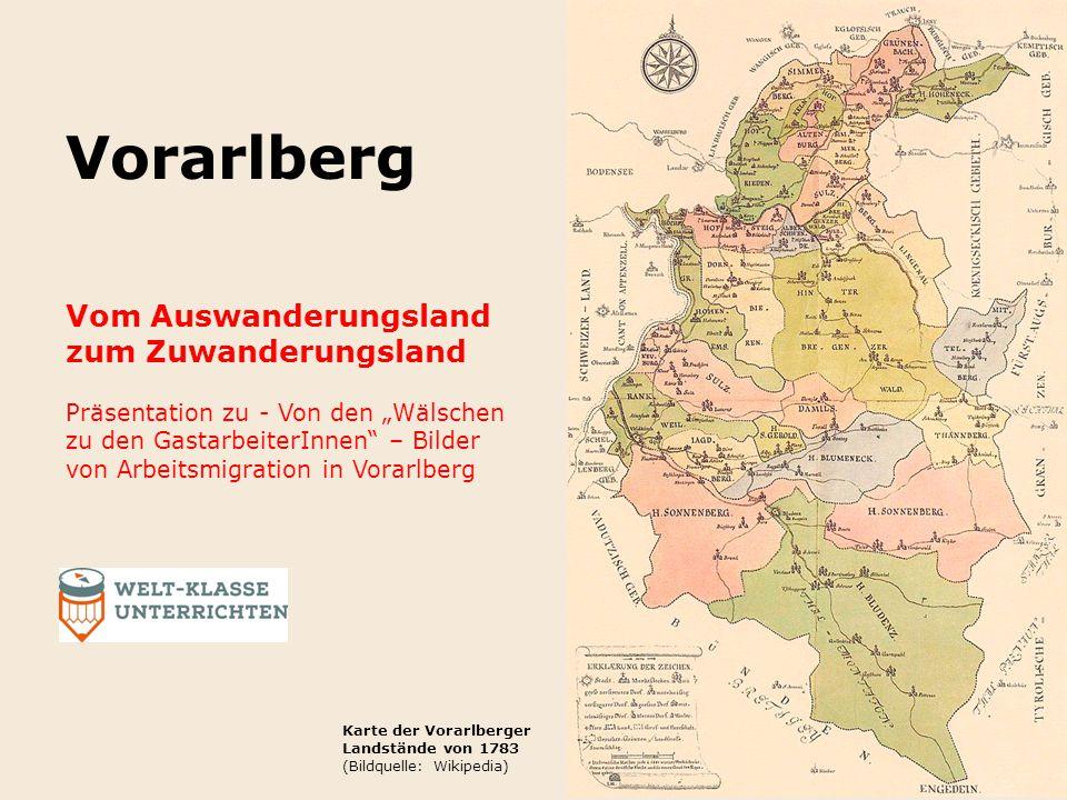 Auswanderung aus Vorarlberg Dokumentiert seit dem Mittelalter Ursachen Mangel an natürlichen Ressourcen Beengter Lebensraum im Land (Gebirge, Überschwemmungen der Flüsse) Traditionelle Erbregelung: Realteilung Blick in den Bregenzerwald (Bildquelle: www.cinedoku.com)