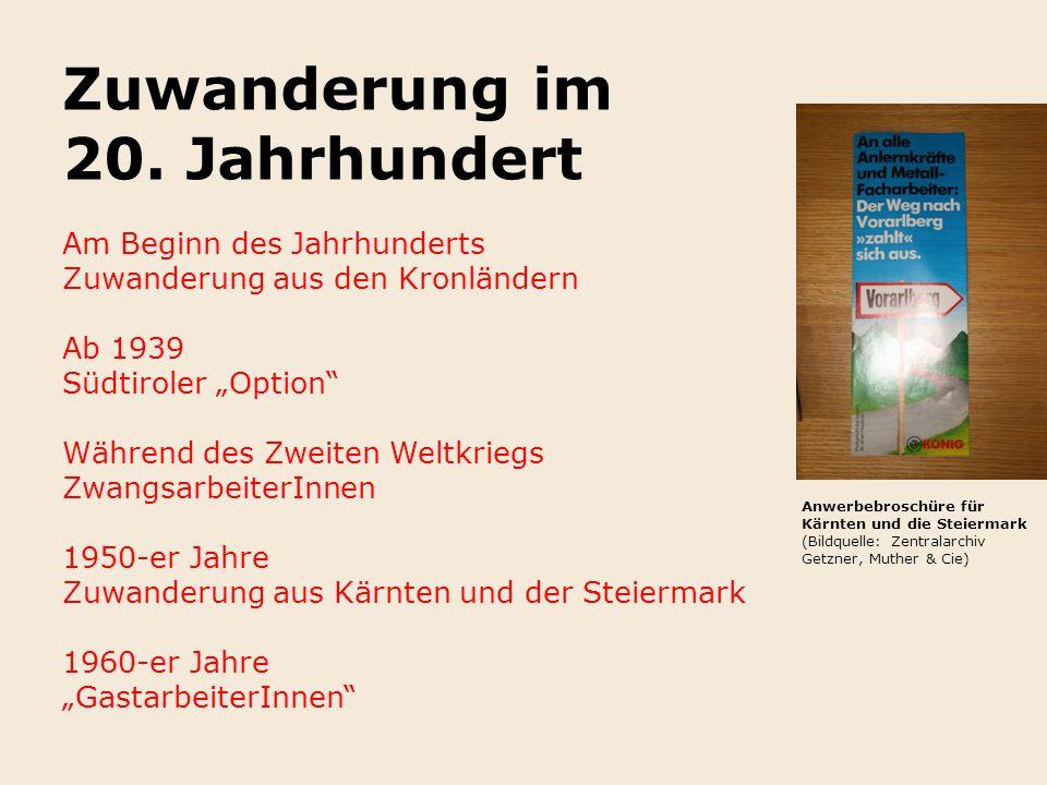 """Zuwanderung im 20. Jahrhundert Am Beginn des Jahrhunderts Zuwanderung aus den Kronländern Ab 1939 Südtiroler """"Option"""" Während des Zweiten Weltkriegs Z"""