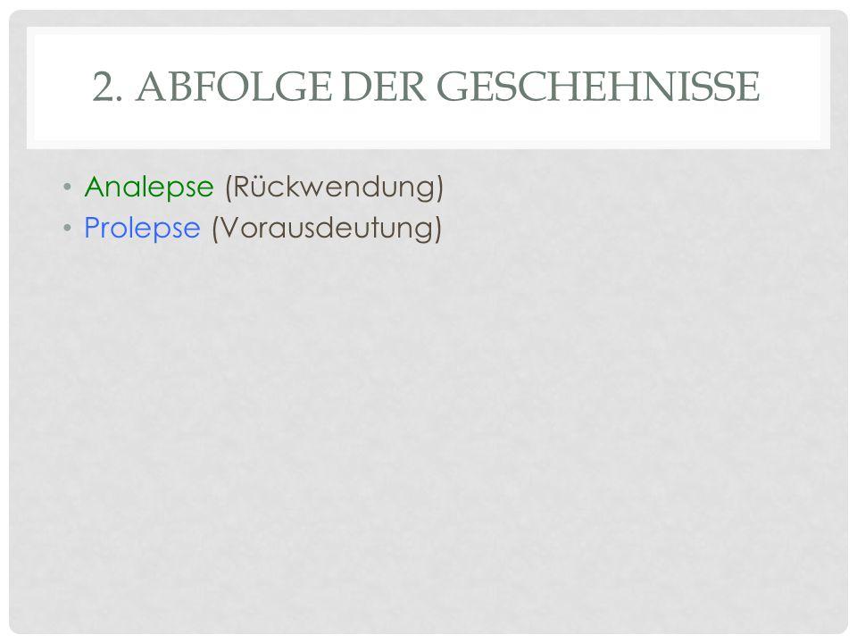 2. ABFOLGE DER GESCHEHNISSE Analepse (Rückwendung) Prolepse (Vorausdeutung)