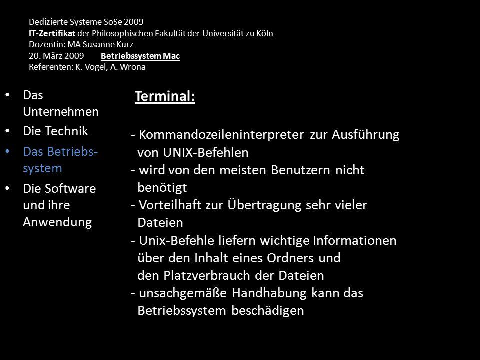 Dedizierte Systeme SoSe 2009 IT-Zertifikat der Philosophischen Fakultät der Universität zu Köln Dozentin: MA Susanne Kurz 20.