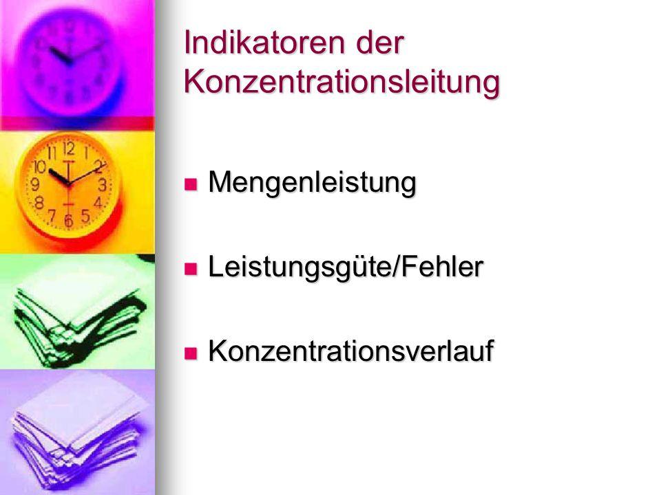 Indikatoren der Konzentrationsleitung Mengenleistung Mengenleistung Leistungsgüte/Fehler Leistungsgüte/Fehler Konzentrationsverlauf Konzentrationsverl