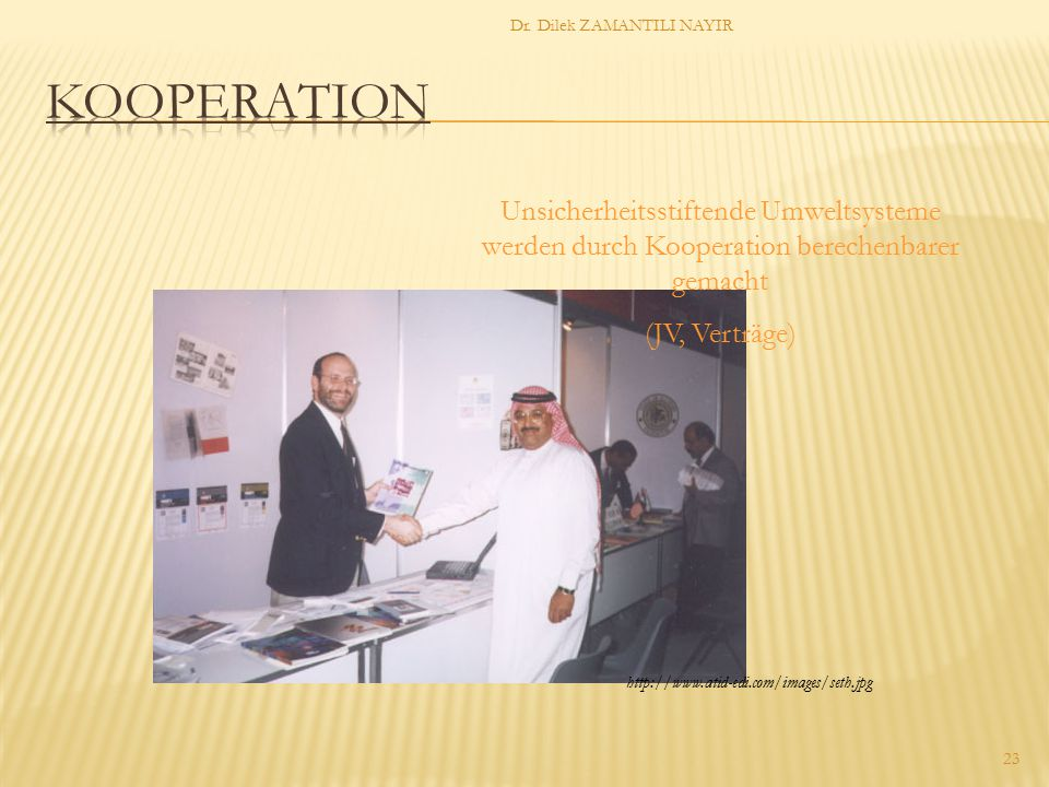 Dr. Dilek ZAMANTILI NAYIR 23 Unsicherheitsstiftende Umweltsysteme werden durch Kooperation berechenbarer gemacht (JV, Verträge) http://www.atid-edi.co