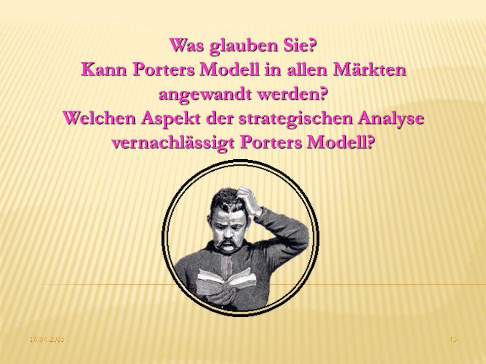 16.04.201543 Was glauben Sie? Kann Porters Modell in allen Märkten angewandt werden? Welchen Aspekt der strategischen Analyse vernachlässigt Porters M