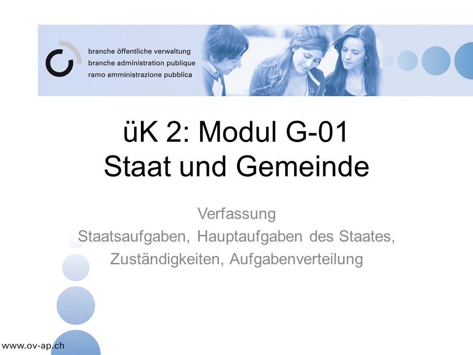 üK 2: Modul G-01 Staat und Gemeinde Verfassung Staatsaufgaben, Hauptaufgaben des Staates, Zuständigkeiten, Aufgabenverteilung