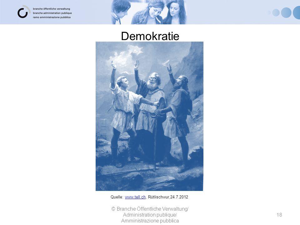 Demokratie 18 © Branche Öffentliche Verwaltung/ Administration publique/ Amministrazione pubblica Quelle: www.tell.ch, Rütlischwur,24.7.2012www.tell.c