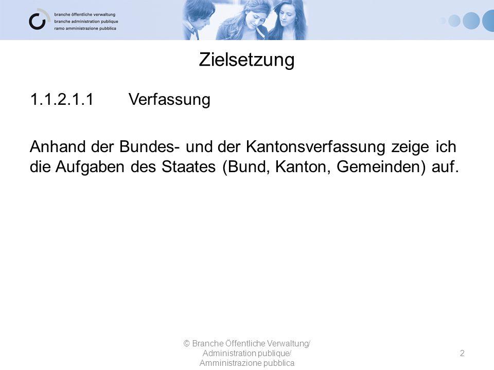 Zielsetzung 1.1.2.1.1Verfassung Anhand der Bundes- und der Kantonsverfassung zeige ich die Aufgaben des Staates (Bund, Kanton, Gemeinden) auf. © Branc
