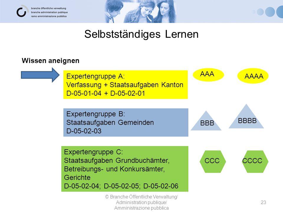 Selbstständiges Lernen 23 © Branche Öffentliche Verwaltung/ Administration publique/ Amministrazione pubblica Expertengruppe A: Verfassung + Staatsauf