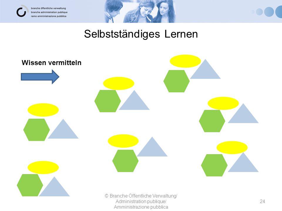Selbstständiges Lernen 24 © Branche Öffentliche Verwaltung/ Administration publique/ Amministrazione pubblica Wissen vermitteln