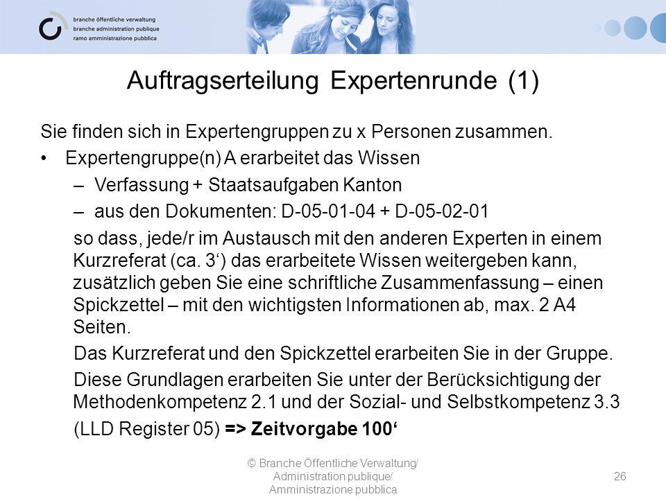 Auftragserteilung Expertenrunde (1) Sie finden sich in Expertengruppen zu x Personen zusammen. Expertengruppe(n) A erarbeitet das Wissen –Verfassung +