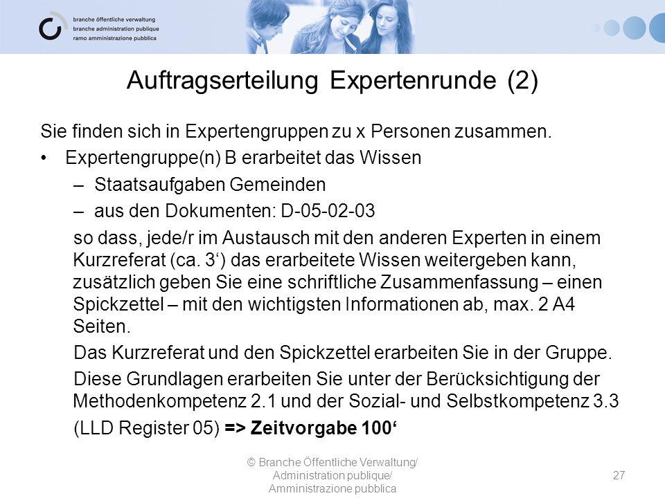 Auftragserteilung Expertenrunde (2) Sie finden sich in Expertengruppen zu x Personen zusammen. Expertengruppe(n) B erarbeitet das Wissen –Staatsaufgab