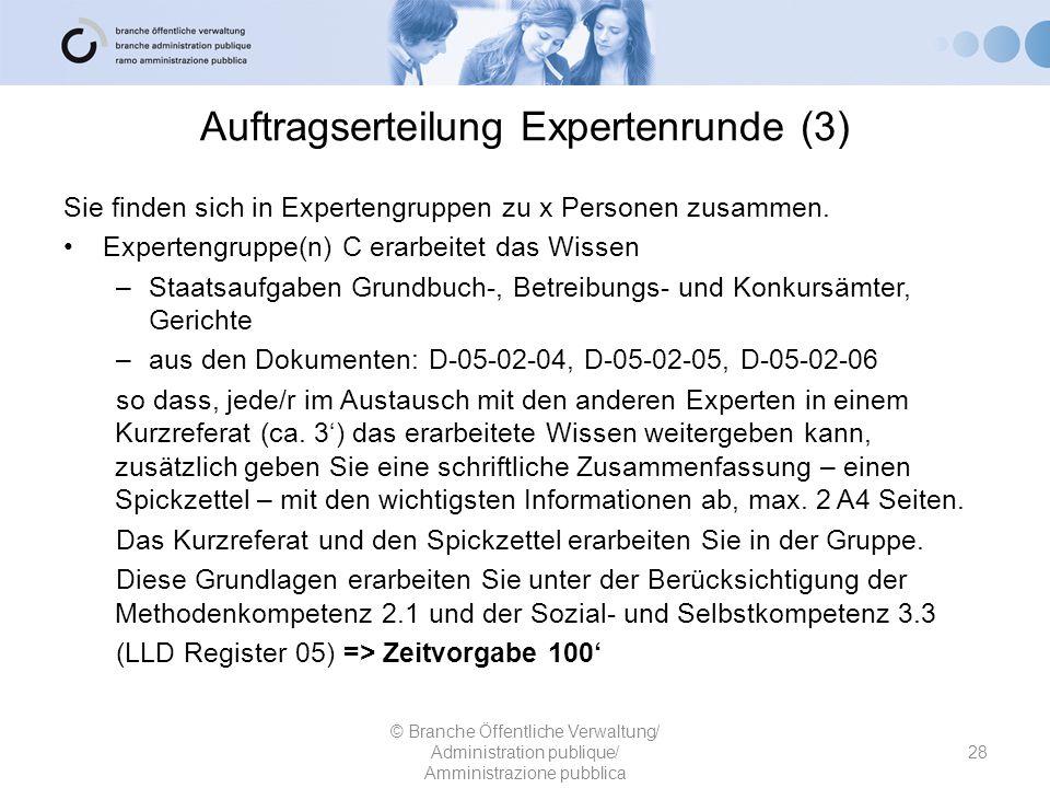 Auftragserteilung Expertenrunde (3) Sie finden sich in Expertengruppen zu x Personen zusammen. Expertengruppe(n) C erarbeitet das Wissen –Staatsaufgab