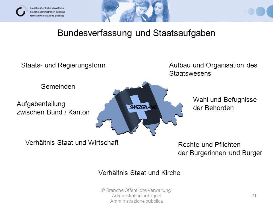 Bundesverfassung und Staatsaufgaben 31 © Branche Öffentliche Verwaltung/ Administration publique/ Amministrazione pubblica Staats- und RegierungsformA
