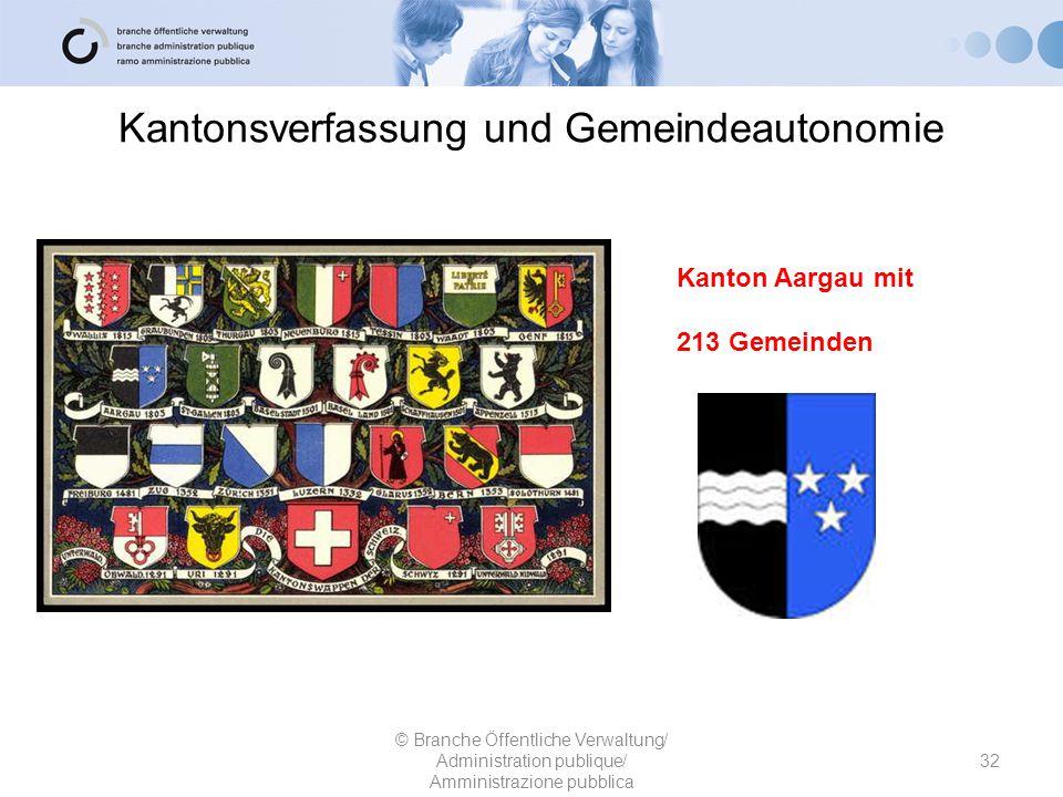 Kantonsverfassung und Gemeindeautonomie 32 © Branche Öffentliche Verwaltung/ Administration publique/ Amministrazione pubblica Kanton Aargau mit 213 G