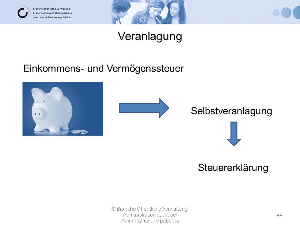 Veranlagung 44 © Branche Öffentliche Verwaltung/ Administration publique/ Amministrazione pubblica Einkommens- und Vermögenssteuer Selbstveranlagung S