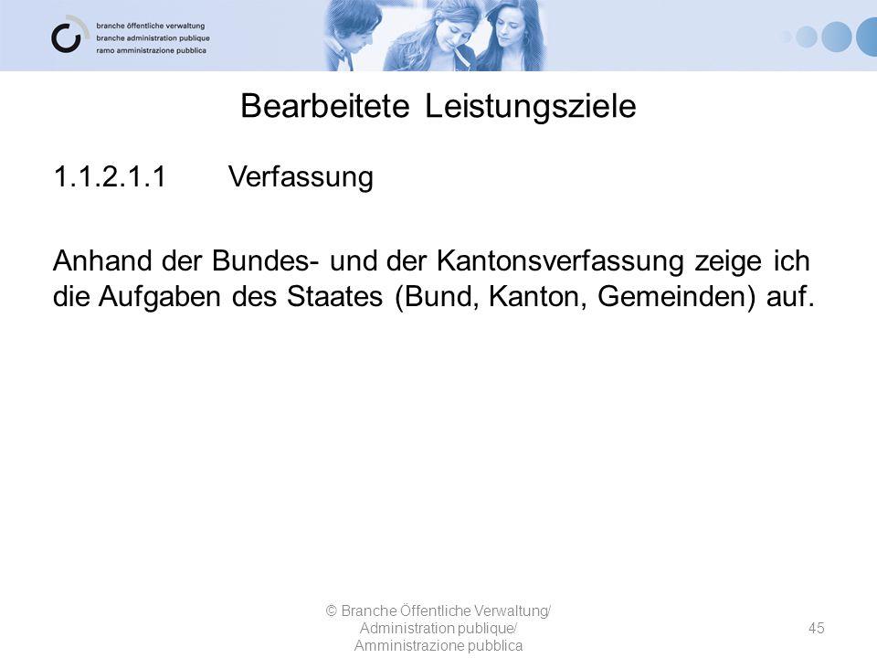 Bearbeitete Leistungsziele 1.1.2.1.1Verfassung Anhand der Bundes- und der Kantonsverfassung zeige ich die Aufgaben des Staates (Bund, Kanton, Gemeinde