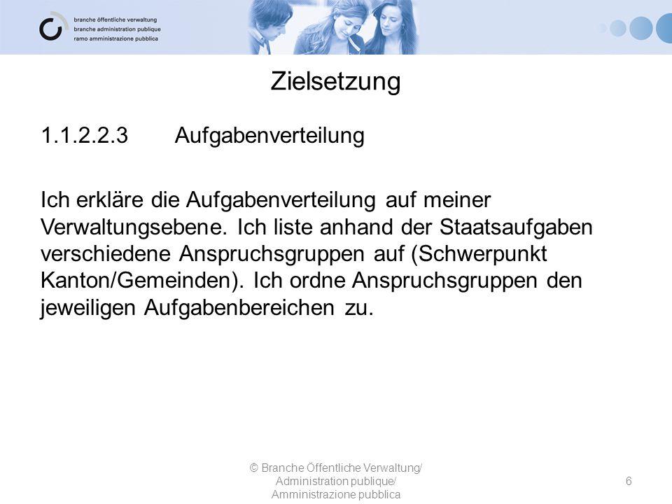 Zielsetzung 1.1.2.2.3Aufgabenverteilung Ich erkläre die Aufgabenverteilung auf meiner Verwaltungsebene. Ich liste anhand der Staatsaufgaben verschiede