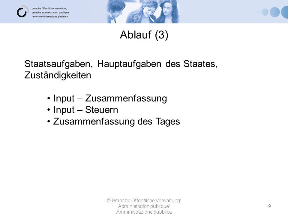 Ablauf (3) Staatsaufgaben, Hauptaufgaben des Staates, Zuständigkeiten Input – Zusammenfassung Input – Steuern Zusammenfassung des Tages © Branche Öffe