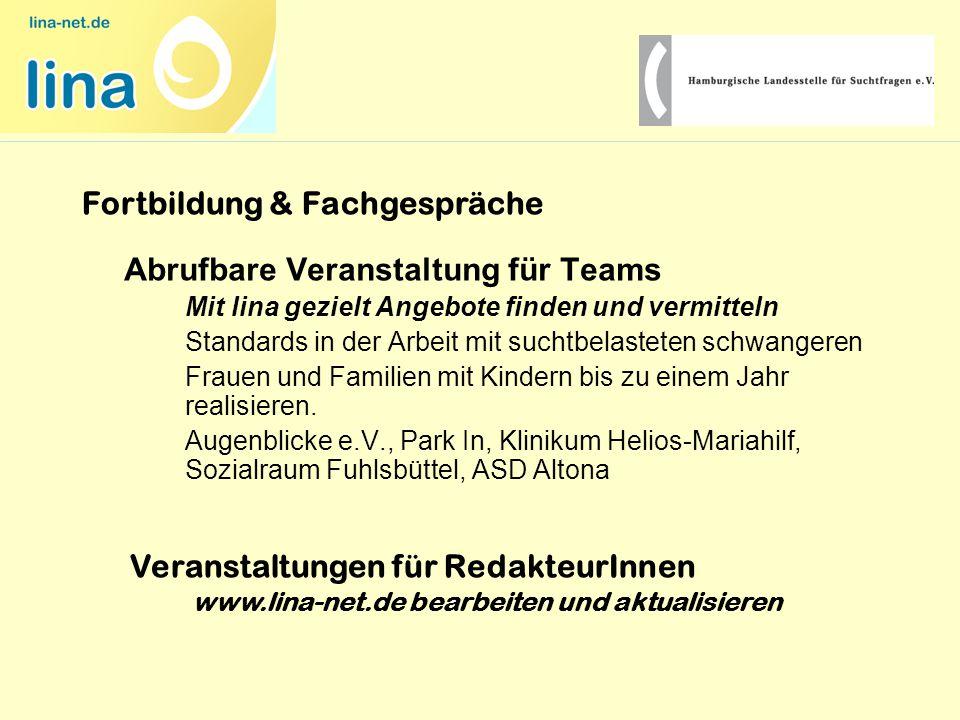 Abrufbare Veranstaltung für Teams Mit lina gezielt Angebote finden und vermitteln Standards in der Arbeit mit suchtbelasteten schwangeren Frauen und F