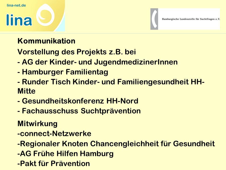 Kommunikation Vorstellung des Projekts z.B. bei - AG der Kinder- und JugendmedizinerInnen - Hamburger Familientag - Runder Tisch Kinder- und Familieng